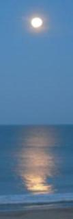 moon rise over beach and water, Ocean City, MD
